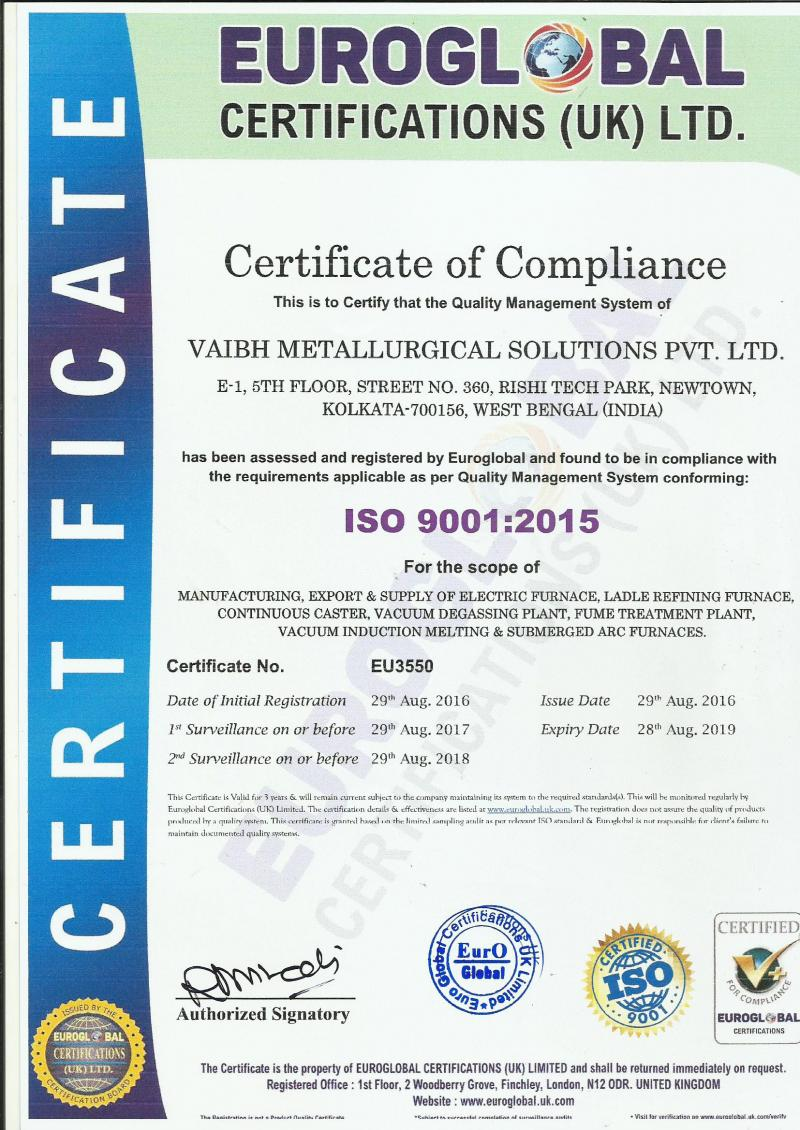 ISO Certifications For Vaibh Metallurical Solutions